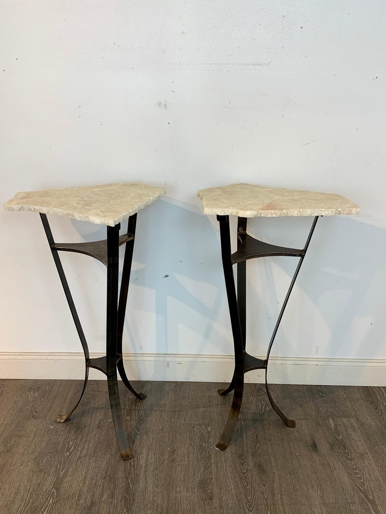 Patinated Pair of Rock Crystal and Iron Pedestals For Sale
