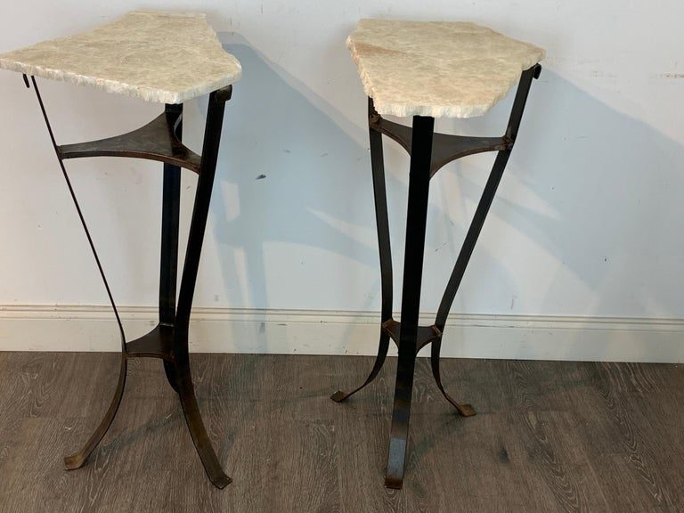 Pair of Rock Crystal and Iron Pedestals In Good Condition For Sale In West Palm Beach, FL