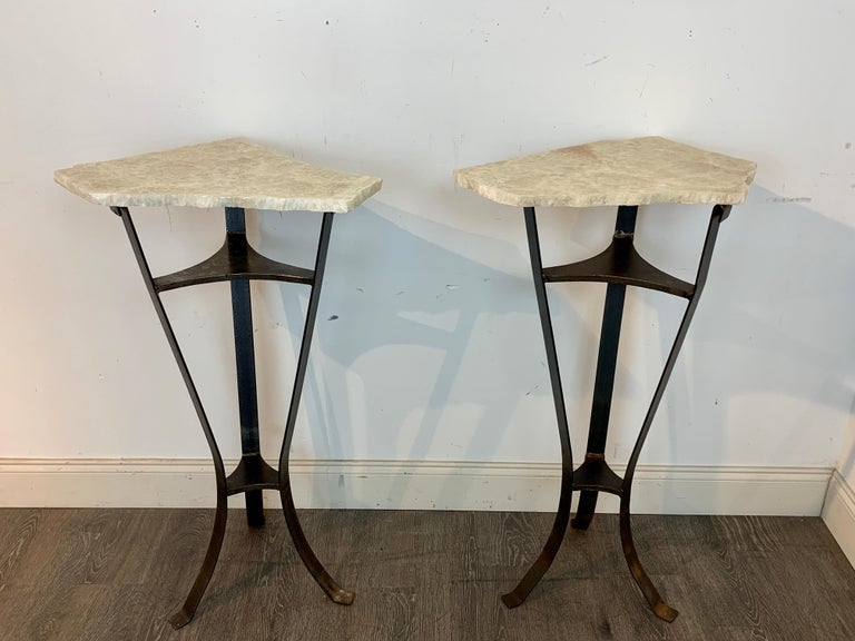 20th Century Pair of Rock Crystal and Iron Pedestals For Sale