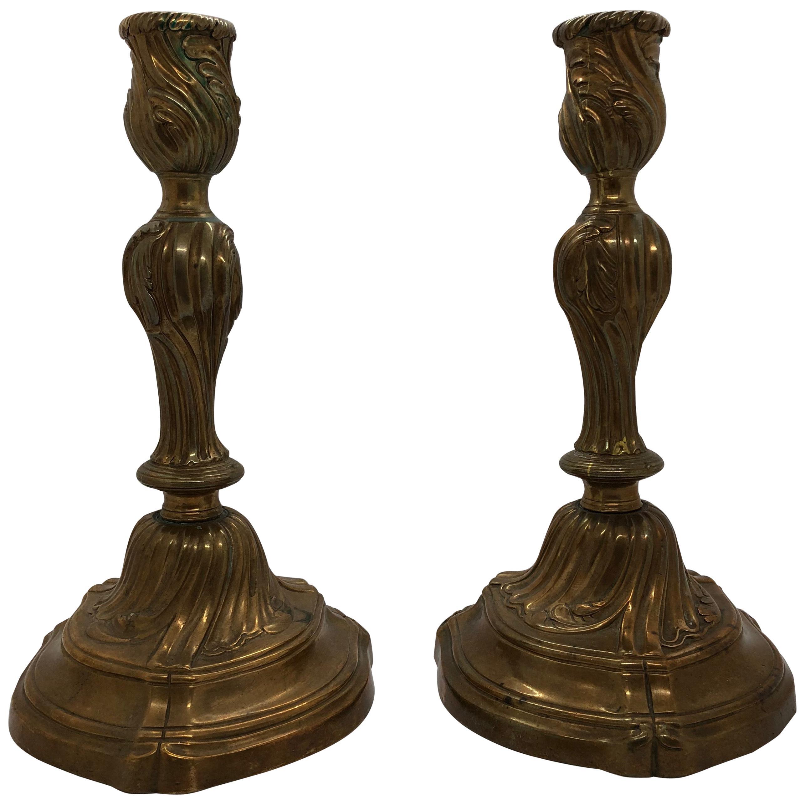 Pair of Rococo Candlesticks, 18th Century