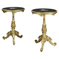 Pair of Rococo Style Giltwood Gueridons with Pietre Dure Marble Tops