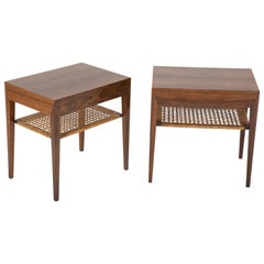 Pair of Rosewood and Cane Nightstands by Severin Hansen Jr.