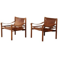 Pair of Rosewood Arne Norell Safari Sirocco Chairs, Sweden, 1960s-1970s