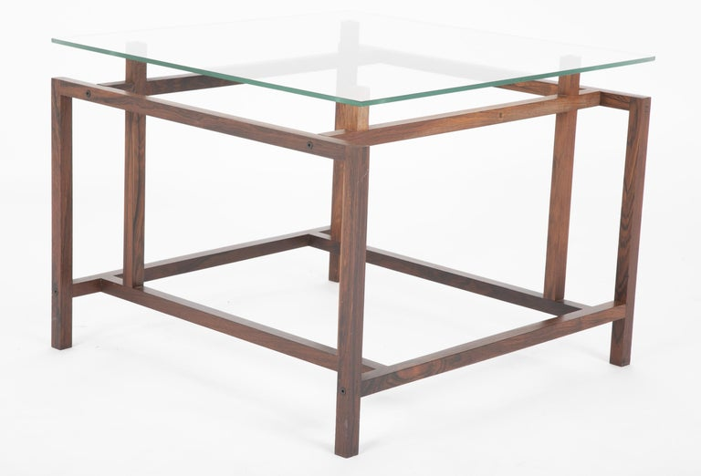 Pair of Rosewood Side Tables with Glass Tops by Henning Norgaard for Komfort For Sale 4