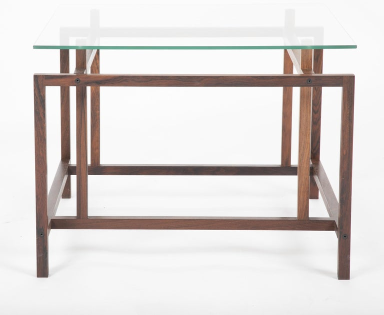Pair of Rosewood Side Tables with Glass Tops by Henning Norgaard for Komfort For Sale 5