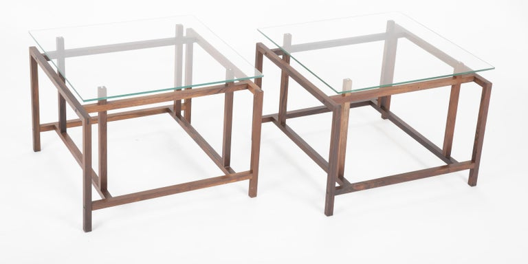 Mid-Century Modern Pair of Rosewood Side Tables with Glass Tops by Henning Norgaard for Komfort For Sale