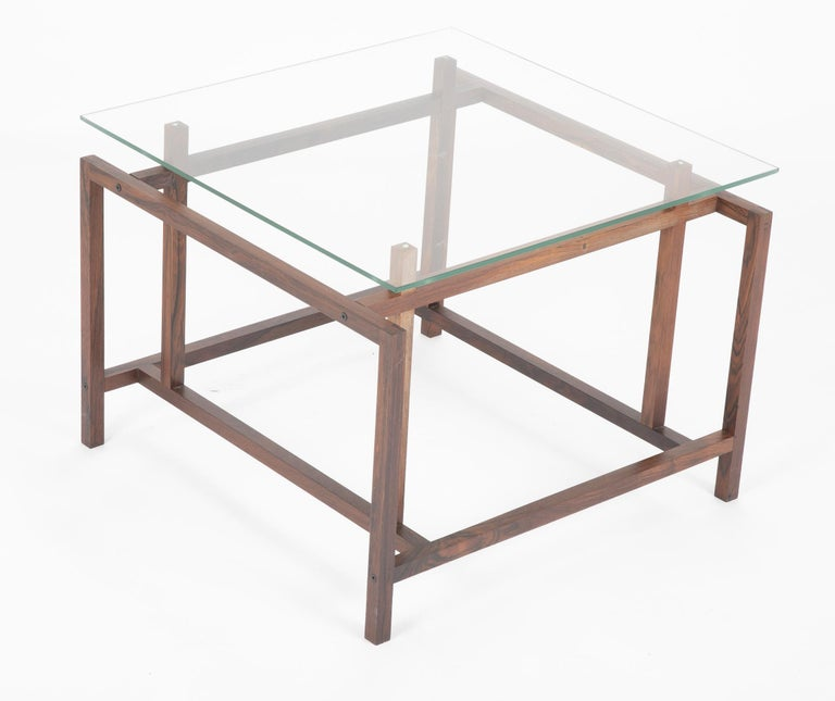 Pair of Rosewood Side Tables with Glass Tops by Henning Norgaard for Komfort In Good Condition For Sale In Stamford, CT