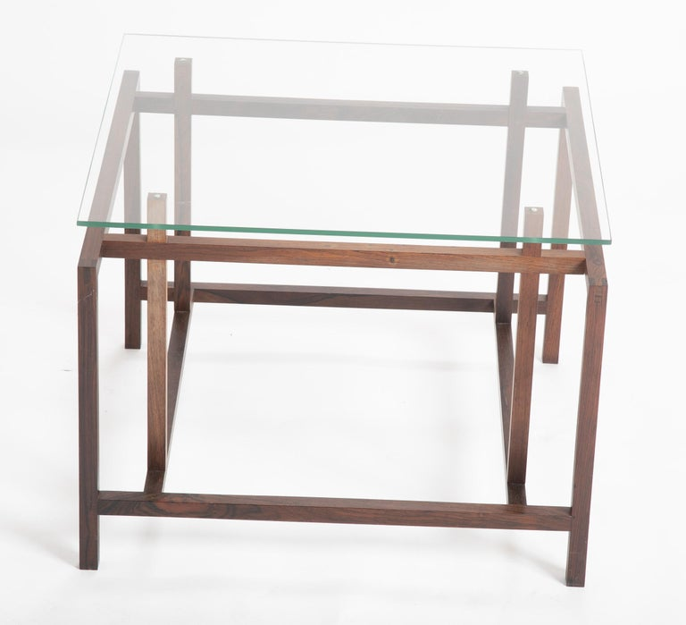 Pair of Rosewood Side Tables with Glass Tops by Henning Norgaard for Komfort For Sale 1