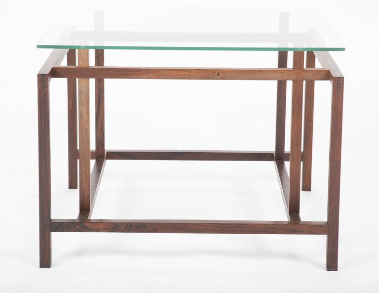 Pair of Rosewood Side Tables with Glass Tops by Henning Norgaard for Komfort For Sale 2
