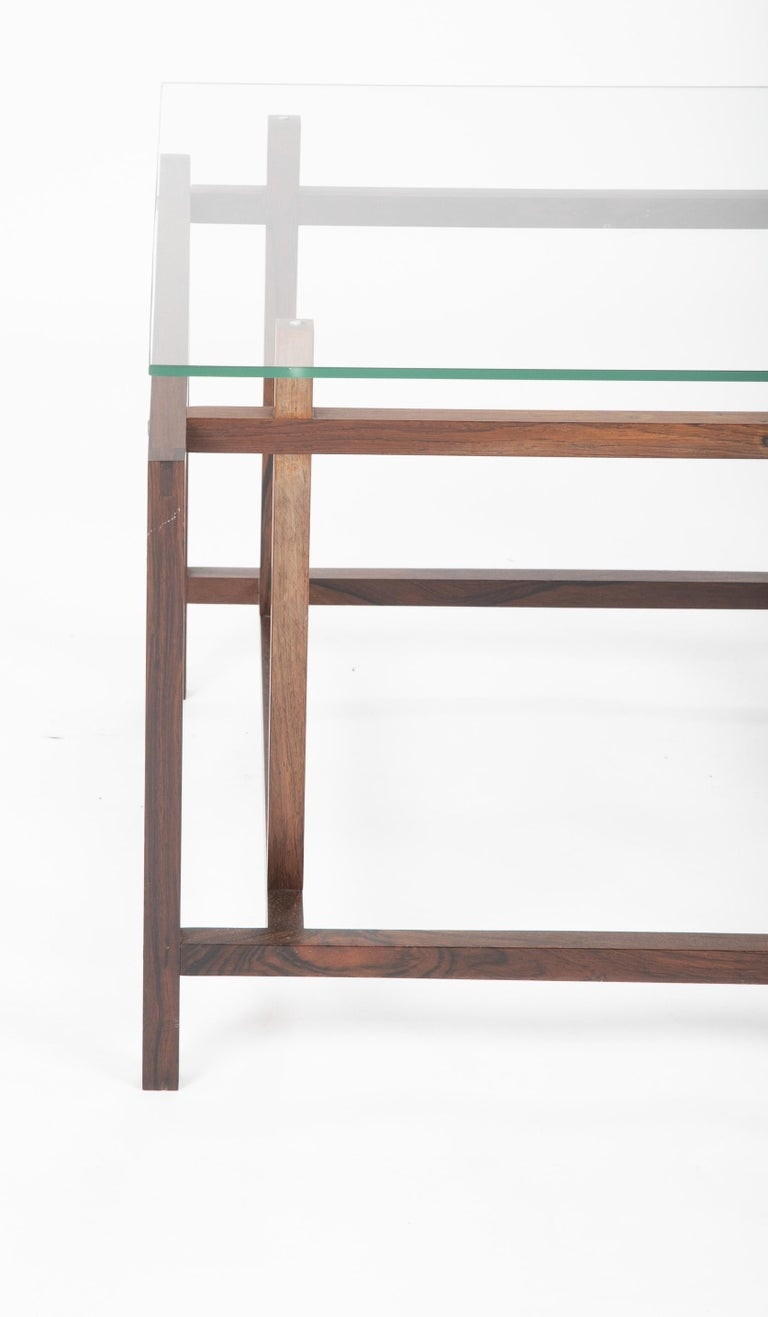 Pair of Rosewood Side Tables with Glass Tops by Henning Norgaard for Komfort For Sale 3