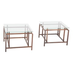Pair of Rosewood Side Tables with Glass Tops by Henning Norgaard for Komfort