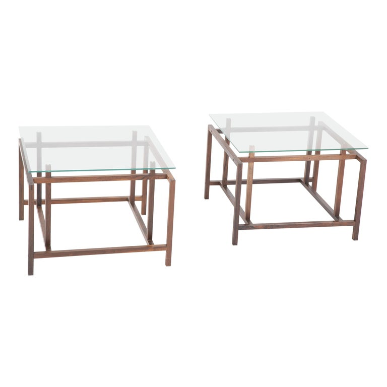 Pair of Rosewood Side Tables with Glass Tops by Henning Norgaard for Komfort For Sale