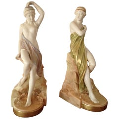Pair of Royal Worcester Porcelain Figurines Isis and Sabrina by George Evans
