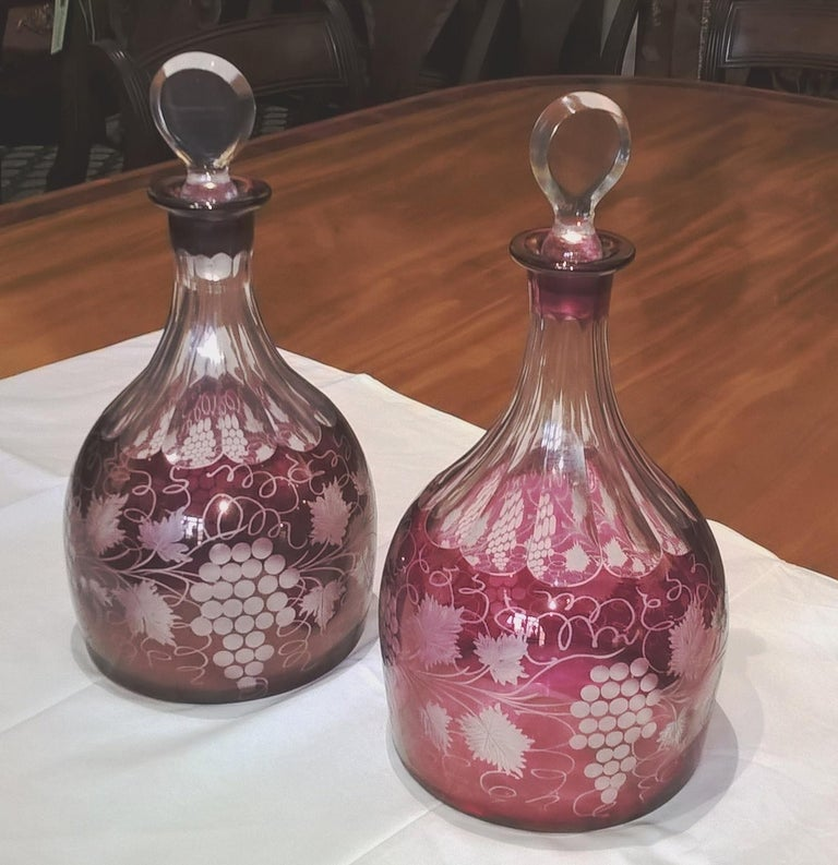 Pair of Ruby Flashed and Engraved Early 19th Century Bohemian Glass Decanters For Sale 1