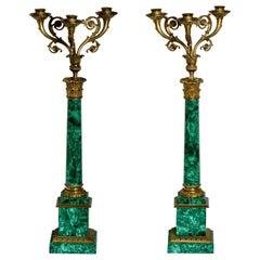 Pair of Russian Style Gilt-Bronze Mounted Malachite Three-Light Candelabra