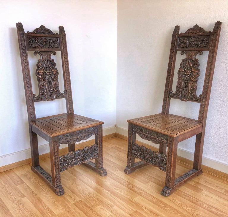 Sale Pair Of Rustic Carved Wood Renaissance Style Italian