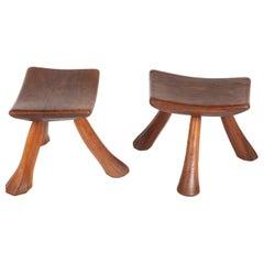 Pair of Rustic Maple Stools