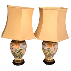 Pair of Satsuma Japanese Vases Converted to Lamps