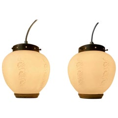 Pair of Scandinavian Modern Brass and Opaline Glass Ceiling Lamps, 1950s