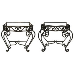 Pair of Scroll Iron Console Bases