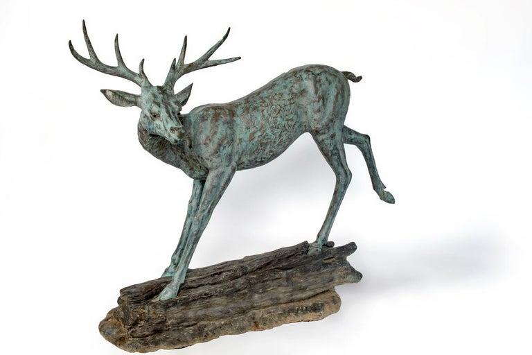 European Pair of Sculptural Bronze Deer For Sale