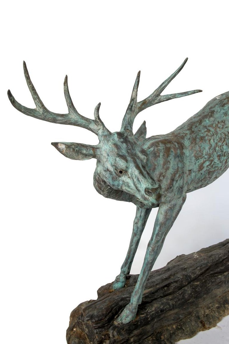 Pair of Sculptural Bronze Deer In Excellent Condition For Sale In Washington, DC