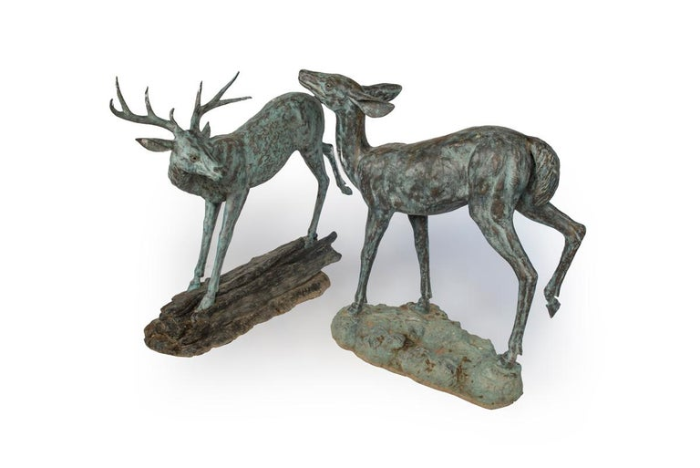 Pair of Sculptural Bronze Deer For Sale 1