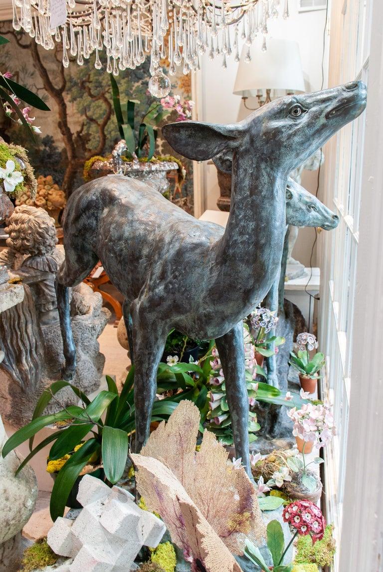 Pair of Sculptural Bronze Deer For Sale 4