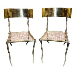 """Pair of Sculptural """"Snake"""" Design Brass Accent Side Chairs"""
