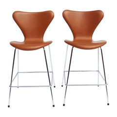 Pair of Seven Bar Stools, Model 3187, with Cognac Leather by Arne Jacobsen