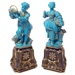 Pair of Sevres Style Porcelain Turquoise-Glazed Figures, 19th Century