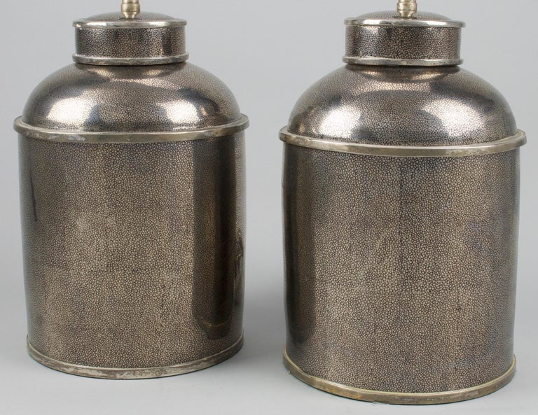 Chinese Pair of Silver Shagreen Porcelain Tea Canisters Lamps For Sale