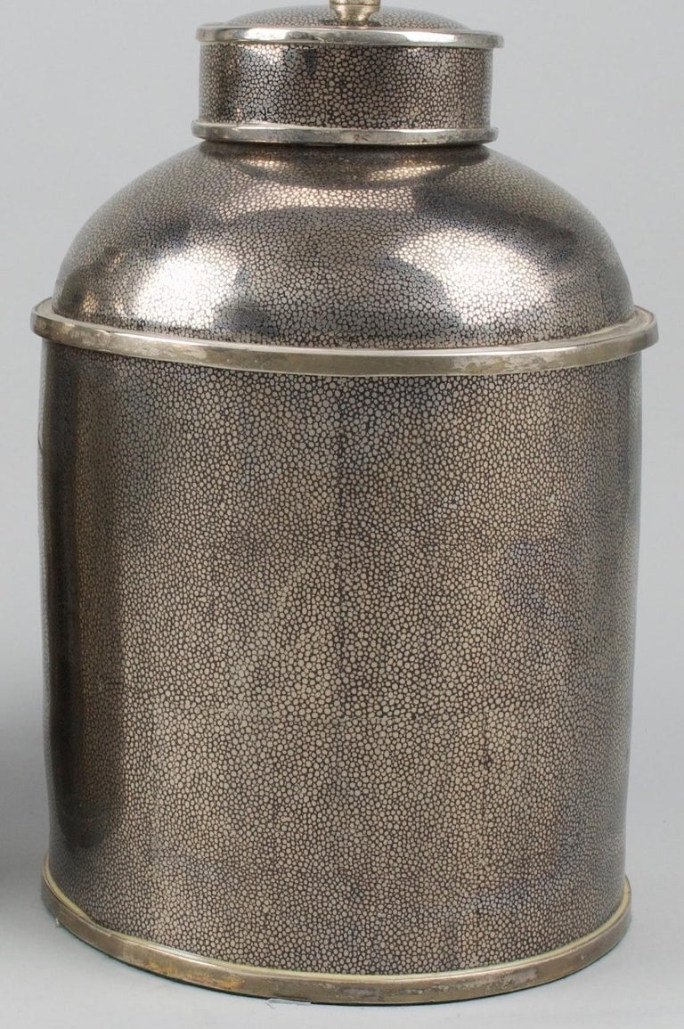 Pair of Silver Shagreen Porcelain Tea Canisters Lamps In Good Condition For Sale In London, GB