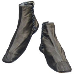 A Pair of Silk Walking Boots - French Romantic Period Circa 1820/1840