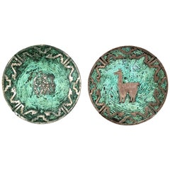 Pair of Silver and Turquoise on Copper Plates Attributed to Graziella Laffi