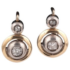 Pair of Silver Gold and Diamond Earrings