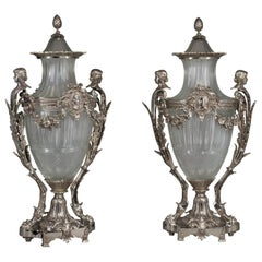 Pair of Silvered Bronze and Glass Urns and Covers by Baccarat French, circa 1890
