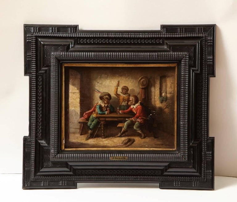 A pair of Singerie oil on canvas, depicting fanciful primates at leisure, one scene depicting a card game, the other debauchery with ebonized hand-carved frame, signed Goinville to the top left corner of each painting.