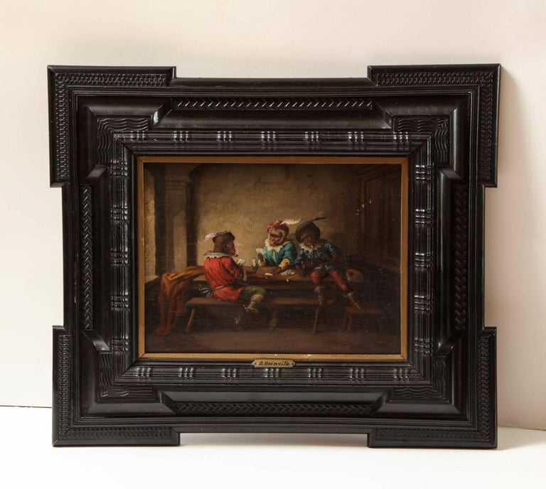Pair of Singerie Oil on Canvas In Excellent Condition For Sale In New York, NY