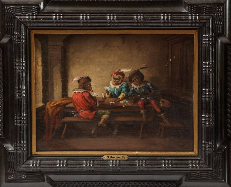 Late 20th Century Pair of Singerie Oil on Canvas For Sale