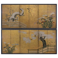 Pair of Six-Fold Japanese Screens Attribtuted to Kano Sansetsu, 1590-1651