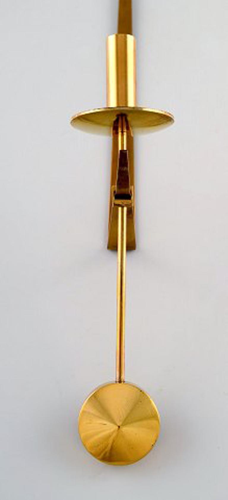 Swedish Pair of Skultuna, Sweden, Brass Candlesticks, Model 1607 For Sale