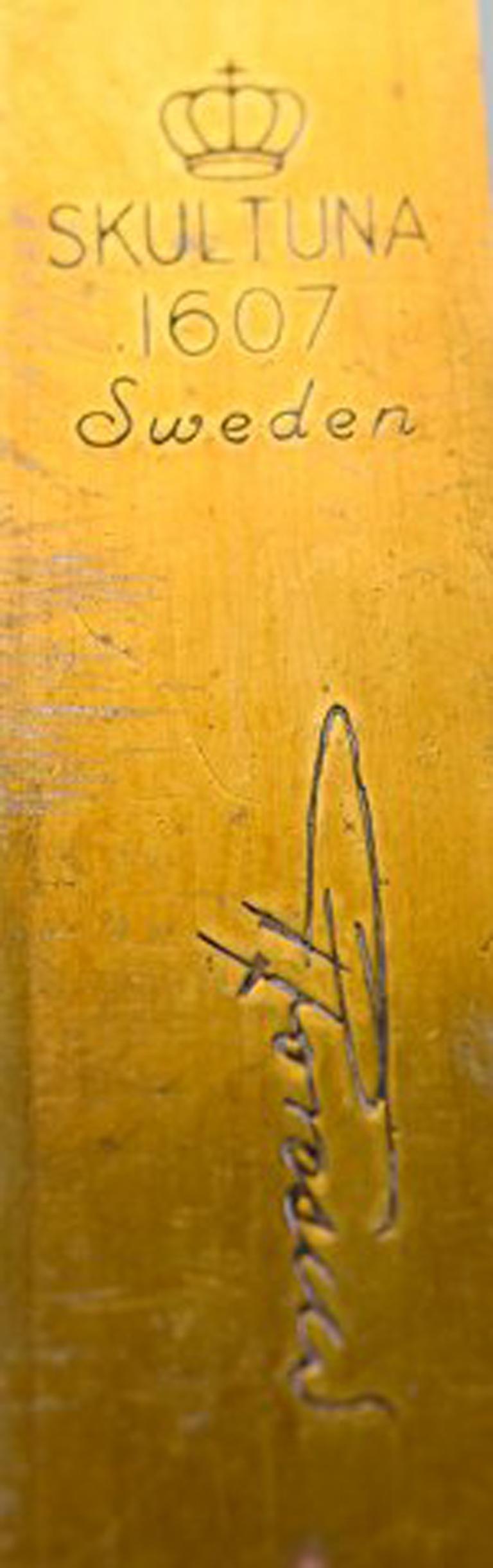 Pair of Skultuna, Sweden, Brass Candlesticks, Model 1607 For Sale 1