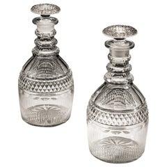 Pair of Slice and Flute Cut Georgian Decanters with Diamond Band