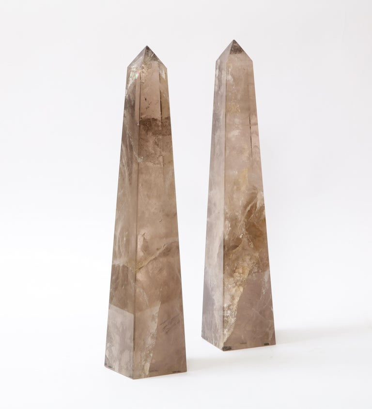 French Pair of Smokey Rock Crystal Quartz Hand Carved and Hand-Polished Obelisks For Sale