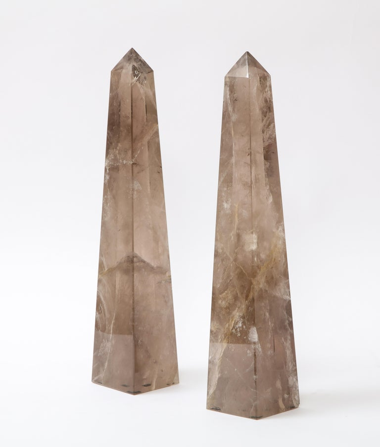Hand-Carved Pair of Smokey Rock Crystal Quartz Hand Carved and Hand-Polished Obelisks For Sale