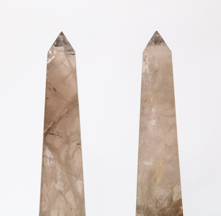 Pair of Smokey Rock Crystal Quartz Hand Carved and Hand-Polished Obelisks In Good Condition For Sale In New York, NY