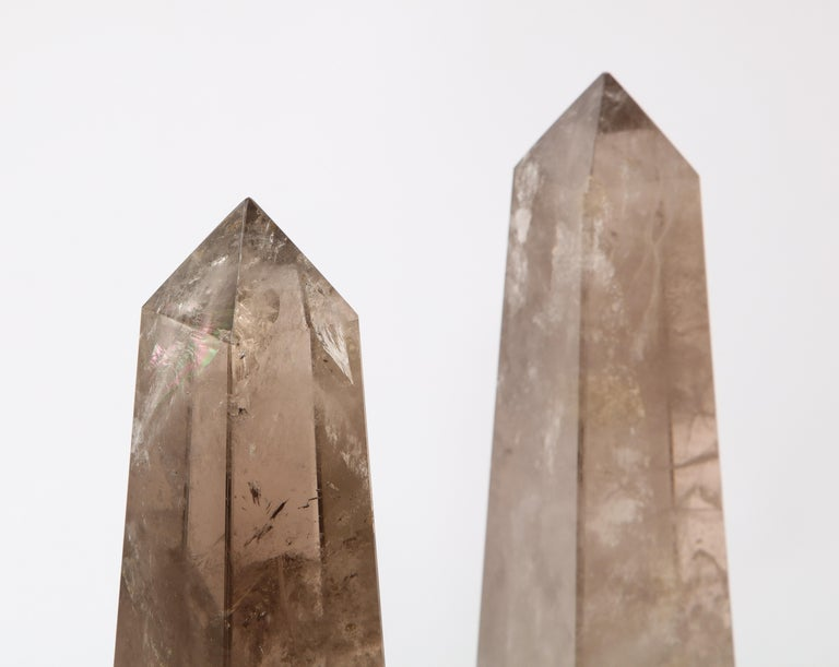 20th Century Pair of Smokey Rock Crystal Quartz Hand Carved and Hand-Polished Obelisks For Sale