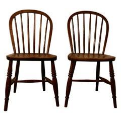 Pair of Solid Ash Windsor Hoop Back Chairs