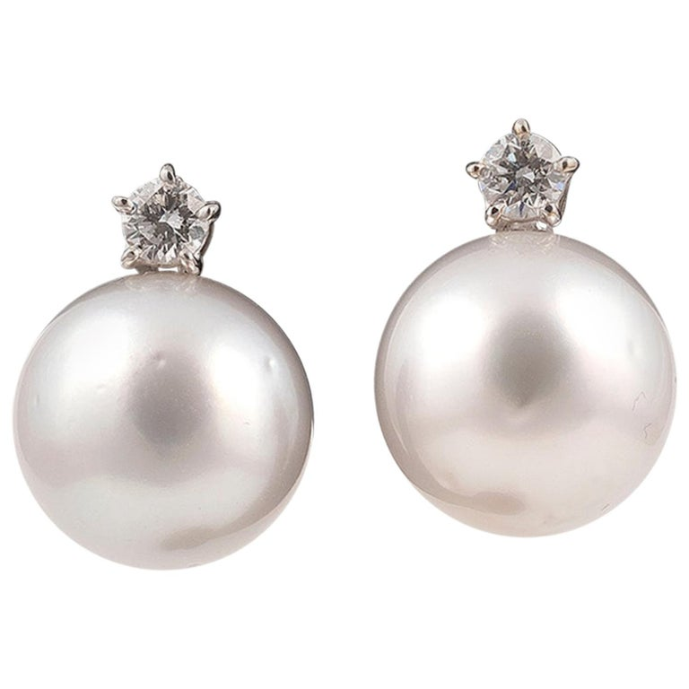 Pair of South Sea Cultured Pearl Diamond and 18 Karat White Gold Earrings For Sale